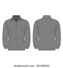 Grey color fleece outdoor jacket isolated vector on the white background