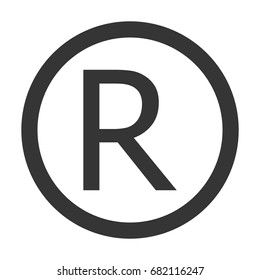Grey color R Registered intellectual property trademark sign. Registered R trademark  grey icon vector eps10.