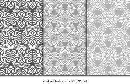 grey color seamless psyhodelic floral pattern set. vector illustration. for design, wallpaper, invitation