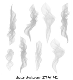 Grey color smoke set isolated on white background, vector illustration