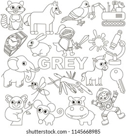 Grey Colorless Objects Color elements set, collection of coloring book template, the group of outline digital elements vector illustration, kid educational game page.