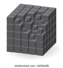 Grey construction set of cubes, vector illustration