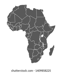 Grey contour map of Africa on white background. Vector