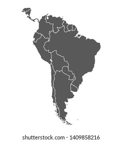 Grey contour map of South America on white background. Vector