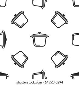 Grey Cooking pot icon isolated seamless pattern on white background. Boil or stew food symbol.  Vector Illustration