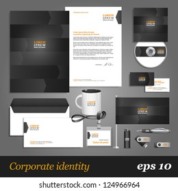 Grey corporate identity template with arrows. Vector company style for brandbook and guideline. EPS 10
