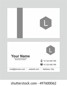 Grey creative and modern business card vector template.