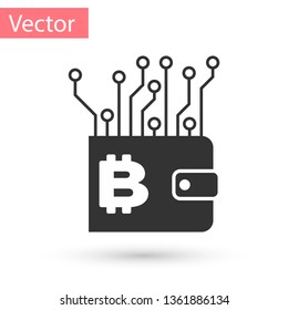 Grey Cryptocurrency wallet icon isolated on white background. Wallet and bitcoin sign. Mining concept. Money, payment, cash, pay icon. Vector Illustration