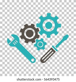 Grey And Cyan Mechanics Tools interface toolbar pictogram. Vector pictograph style is a flat bicolor symbol on chess transparent background.