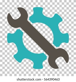 Grey And Cyan Service Tools toolbar pictogram. Vector pictogram style is a flat bicolor symbol on chess transparent background.