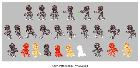 Grey Cyborg Enemy Game Sprites. Suitable for side scrolling, action, and adventure game.
