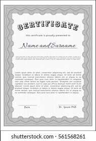 Grey Diploma or certificate template. Money style design. Vector illustration. Complex background.