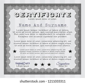 Grey Diploma template. Artistry design. Detailed. With background.