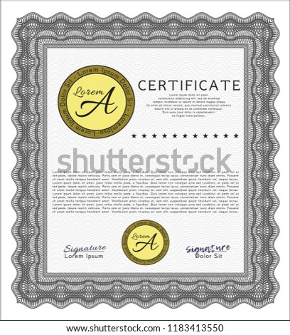 grey diploma template certificate template customizable stock vector