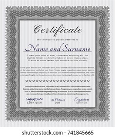 Grey Diploma template or certificate template. Easy to print. Vector illustration. Superior design.