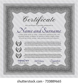 Grey Diploma template or certificate template. Elegant design. With quality background. Customizable, Easy to edit and change colors.