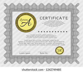 Grey Diploma Template Excellent Design Detailed Printer Friendly
