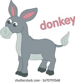 Grey donkey illustration for children