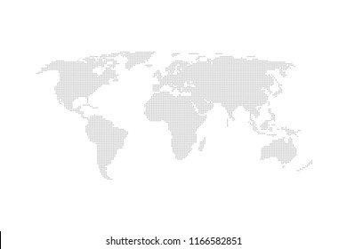 Grey dotted world map vector flat design