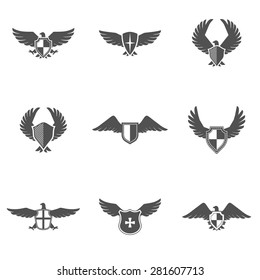 Grey eagle wings and feathers icons with shield set isolated vector illustration