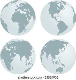 grey earth in different rotations