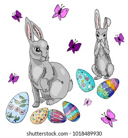 Grey easter rabbits with easter eggs