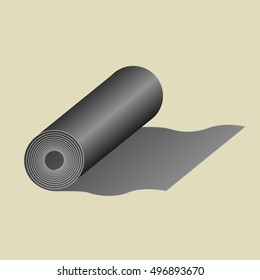 Grey fabric roll icon in cartoon style isolated on yellow background