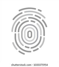 Grey fingerprint flat icon in vector graphics