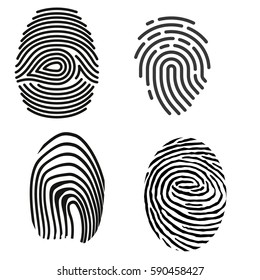 grey fingerprint types detailed vector set.