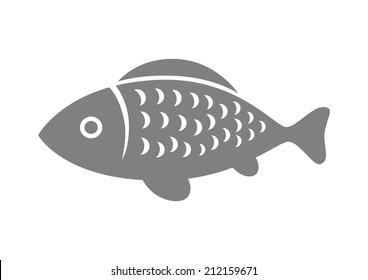 Grey fish icon on white background