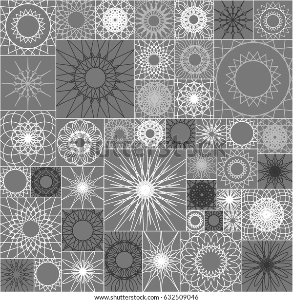 Grey flower and square geometrical seamless background, interior pattern with floral and mosaic elements, geometric rock decoration for modern architecture. Vector illustration
