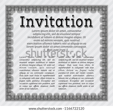 grey formal invitation template sophisticated design stock vector