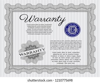 Grey Formal Warranty Certificate template. Money Pattern design. Customizable, Easy to edit and change colors. Easy to print.