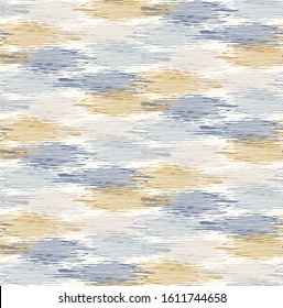 Grey french linen vector broken wave stripe texture seamless pattern. Brush stroke grunge abstract background. Country farmhouse style textile. Irregular distressed wavy striped mark allover print.