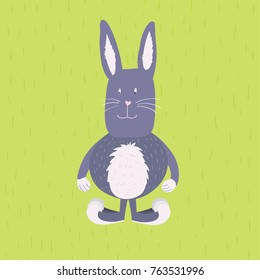 Grey funny cartoon rabbit, hare, bunny on green background. Easter rabbit. Great for post cards, children books, t-shirts.