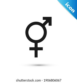 Grey Gender icon isolated on white background. Symbols of men and women. Sex symbol.  Vector