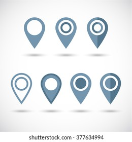 Grey geolocation vector icons set. Geolocate and navigation sign. Grey geo pins  icons set.