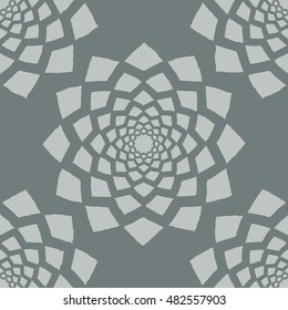 Grey geometric flower seamless pattern