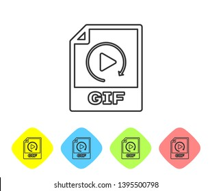 Grey GIF file document icon. Download gif button line icon isolated on white background. GIF file symbol. Set icon in color rhombus buttons. Vector Illustration