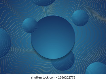 Grey golden curved waves and blue circles abstract background. Vector design