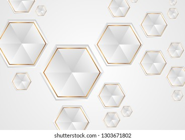 Grey and golden tech hexagons abstract geometric background. Vector design