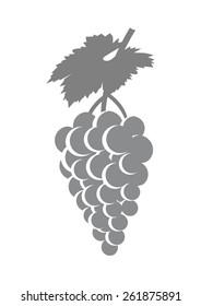 Grey grape icon on white background