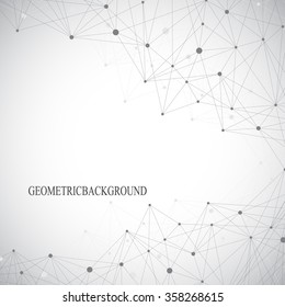 Grey graphic background with connected line and dots. Molecule and communication background for your design and your text. Vector illustration.