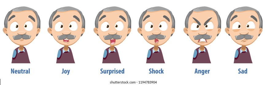 Grey haired grandfather with various facial expressions. Avatars with neutral, joy, surprise, shock, anger and sad emotions. Elderly man personage icons. Grandpa in cartoon style vector illustration