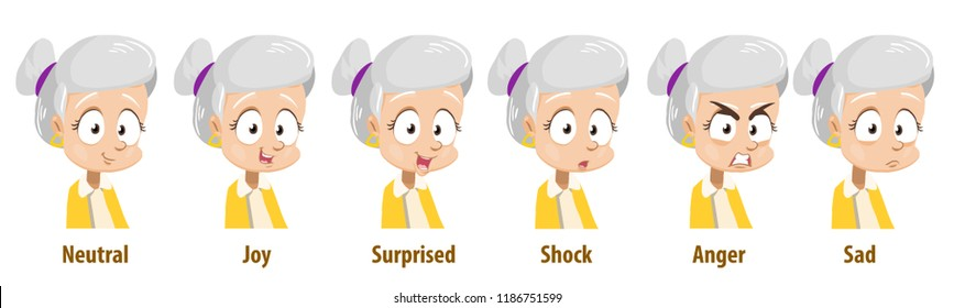 Grey haired grandmother with various facial expressions. Avatars with neutral, joy, surprise, shock, anger and sad emotions. Elderly woman personage icons. Grandma in cartoon style vector illustration