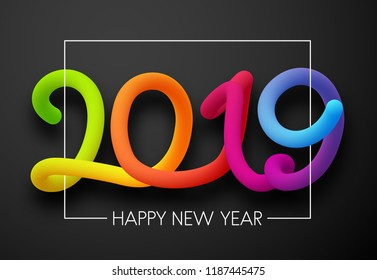 Grey Happy New Year 2019 card with colorful neon figures. Vector background.