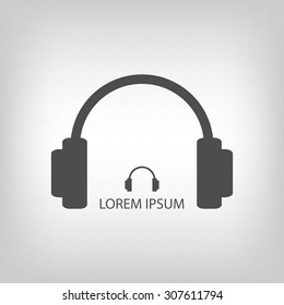 Grey headphones as music and entertainment logo