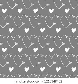 Grey Hearts In Form Of Arrows Seamless Vector Backgrounds For Valentines Day Romantic Illustration