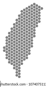 Grey hexagonal Taiwan Island Map. Vector geographical map in grey color on a white background. Vector composition of Taiwan Island Map designed of hexagonal items.