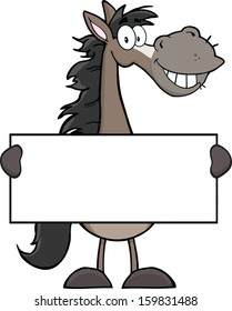 Grey Horse Cartoon Mascot Character Holding A Banner. Vector Illustration Isolated on white